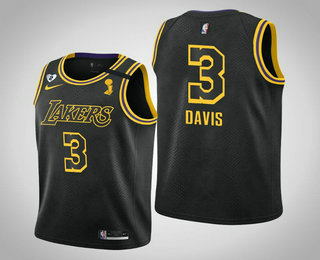 Youth Los Angeles Lakers #3 Anthony Davis 2020 NBA Finals Champions Tribute Kobe and Gianna Black Jersey