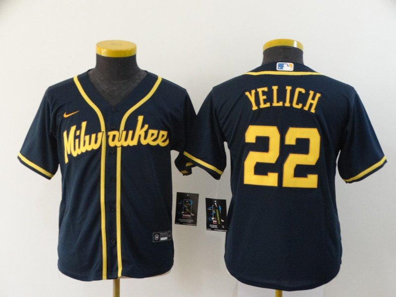 Youth Milwaukee Brewers #22 Christian Yelich Navy Blue Stitched MLB Cool Base Nike Jersey