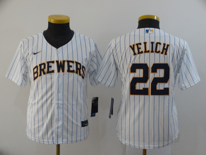 Youth Milwaukee Brewers #22 Christian Yelich White Stitched MLB Cool Base Nike Jersey