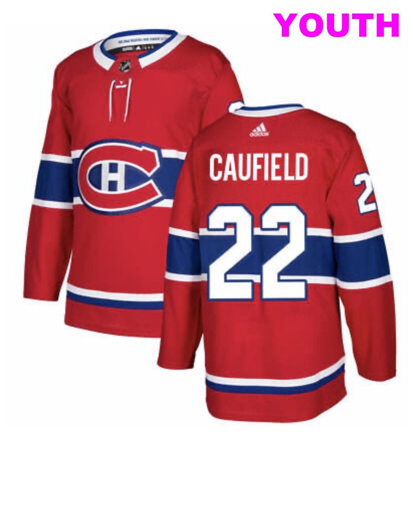 Youth Montreal Canadiens #22 Cole Caufield Red Stitched Kid NHL Jersey