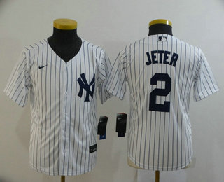 Youth New York Yankees #2 Derek Jeter White Home Stitched MLB Cool Base Nike Jersey