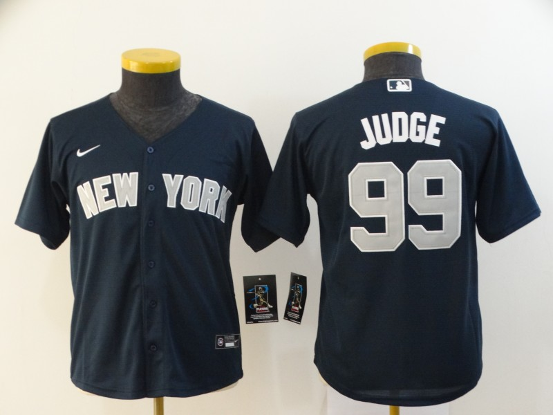 Youth New York Yankees #99 Aaron Judge Navy Blue Stitched MLB Cool Base Nike Jersey
