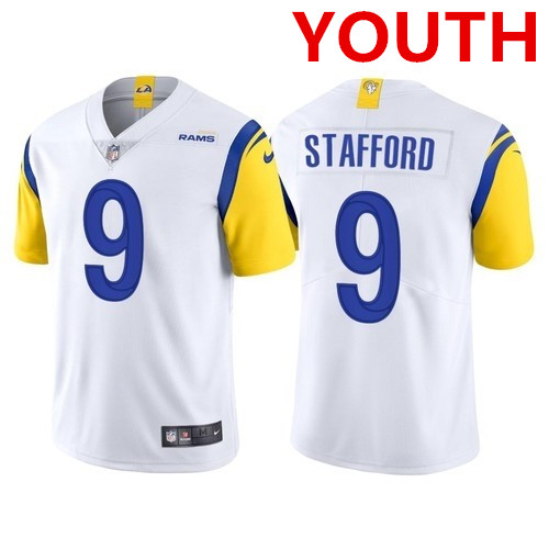Youth Nike Los Angeles Rams 9 Matthew Stafford White Vapor Untouchable Limited Jersey