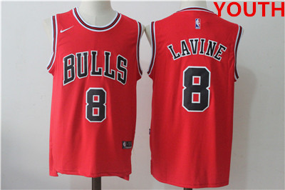 Youth chicago bulls #8 zach lavine red nike stitched jersey