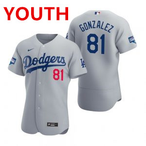 Youth los angeles dodgers #81 victor gonzalez gray 2020 world series champions jersey