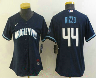 women's chicago cubs #44 anthony rizzo navy blue 2021 city connect stitched mlb cool base nike jersey
